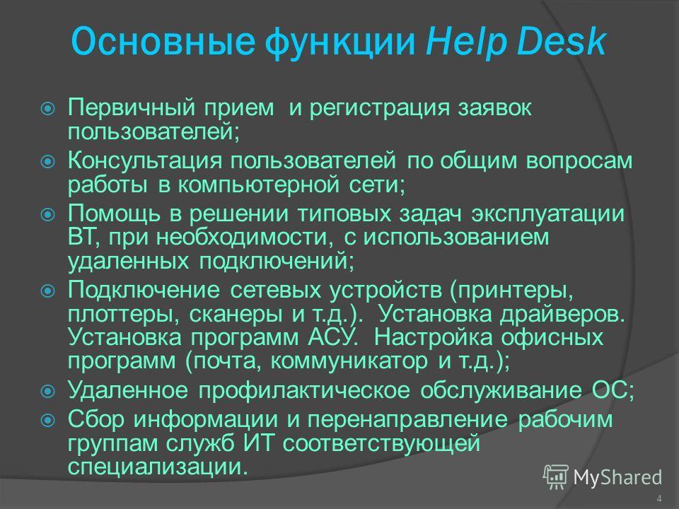 Основные функции Help Desk Первичный прием и регистрация заявок пользователей; Консультация пользователей по общим вопросам работы в компьютерной сети; Помощь в решении типовых задач эксплуатации ВТ, при необходимости, с использованием удаленных подк