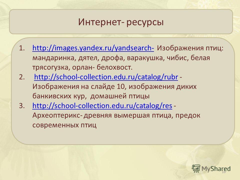 Интернет- ресурсы 1.http://images.yandex.ru/yandsearch- Изображения птиц: мандаринка, дятел, дрофа, варакушка, чибис, белая трясогузка, орлан- белохвост.http://images.yandex.ru/yandsearch- 2. http://school-collection.edu.ru/catalog/rubr - Изображения
