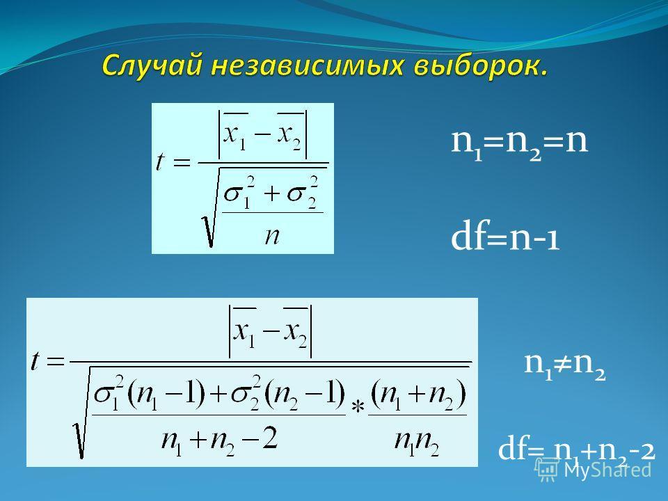 df= n 1 +n 2 -2 n 1 =n 2 =n df=n-1 n 1n 2