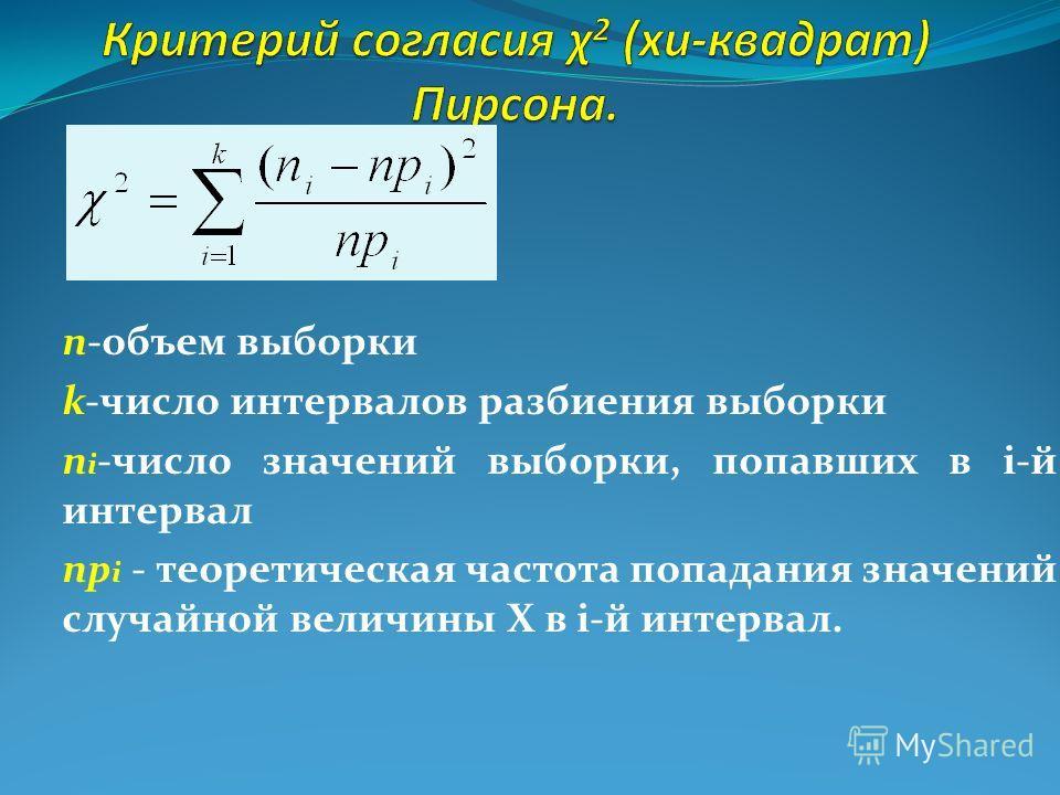 n-объем выборки k-число интервалов разбиения выборки n i -число значений выборки, попавших в і-й интервал np i - теоретическая частота попадания значений случайной величины Х в і-й интервал.