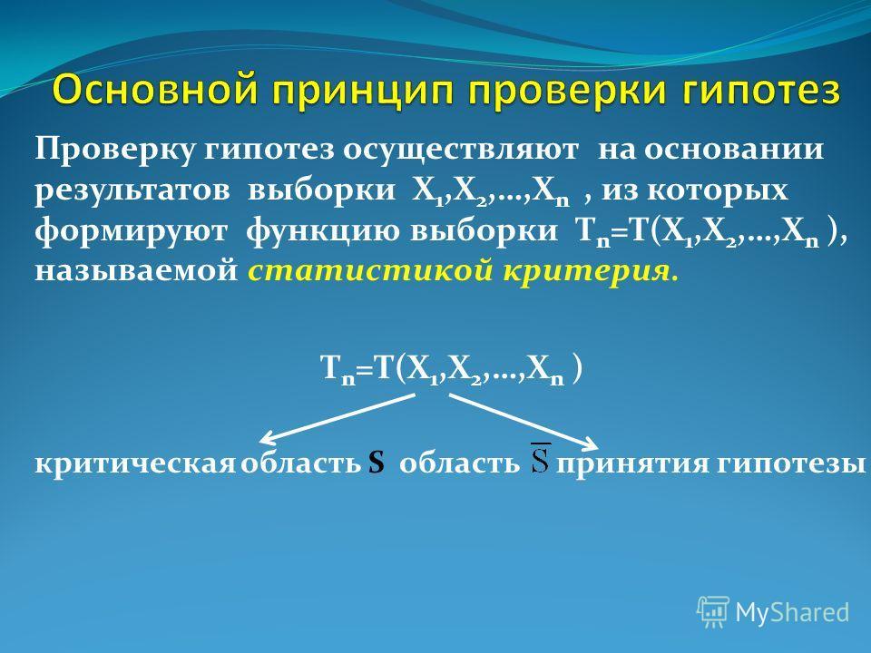 Проверку гипотез осуществляют на основании результатов выборки X 1,X 2,…,X n, из которых формируют функцию выборки T n =T(X 1,X 2,…,X n ), называемой статистикой критерия. T n =T(X 1,X 2,…,X n ) критическая область S область принятия гипотезы