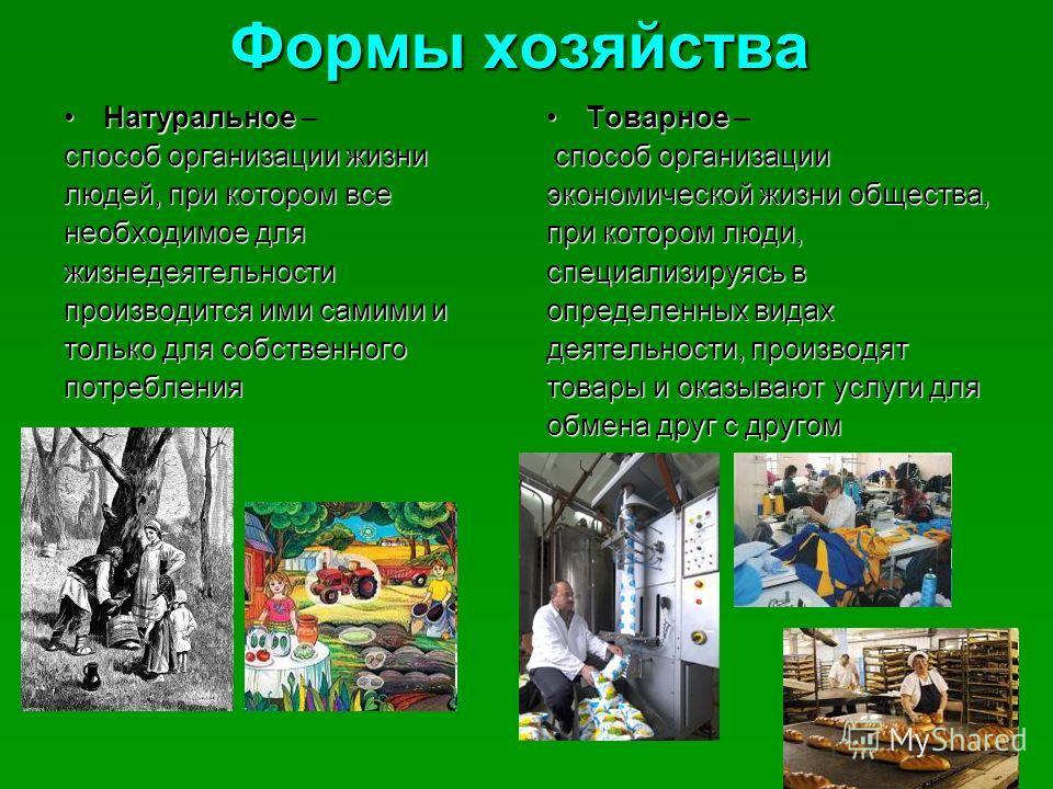 Формы хозяйства НатуральноеНатуральное – способ организации жизни людей, при котором все необходимое для жизнедеятельности производится ими самими и только для собственного потребления ТоварноеТоварное – способ организации экономической жизни обществ