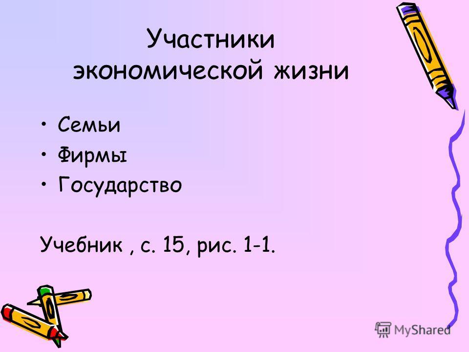 Участники экономической жизни Семьи Фирмы Государство Учебник, с. 15, рис. 1-1.