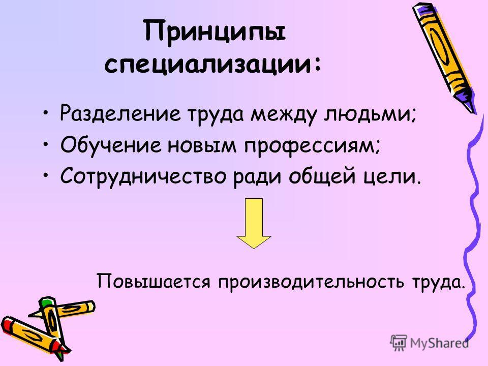 Принципы специализации: Разделение труда между людьми; Обучение новым профессиям; Сотрудничество ради общей цели. Повышается производительность труда.