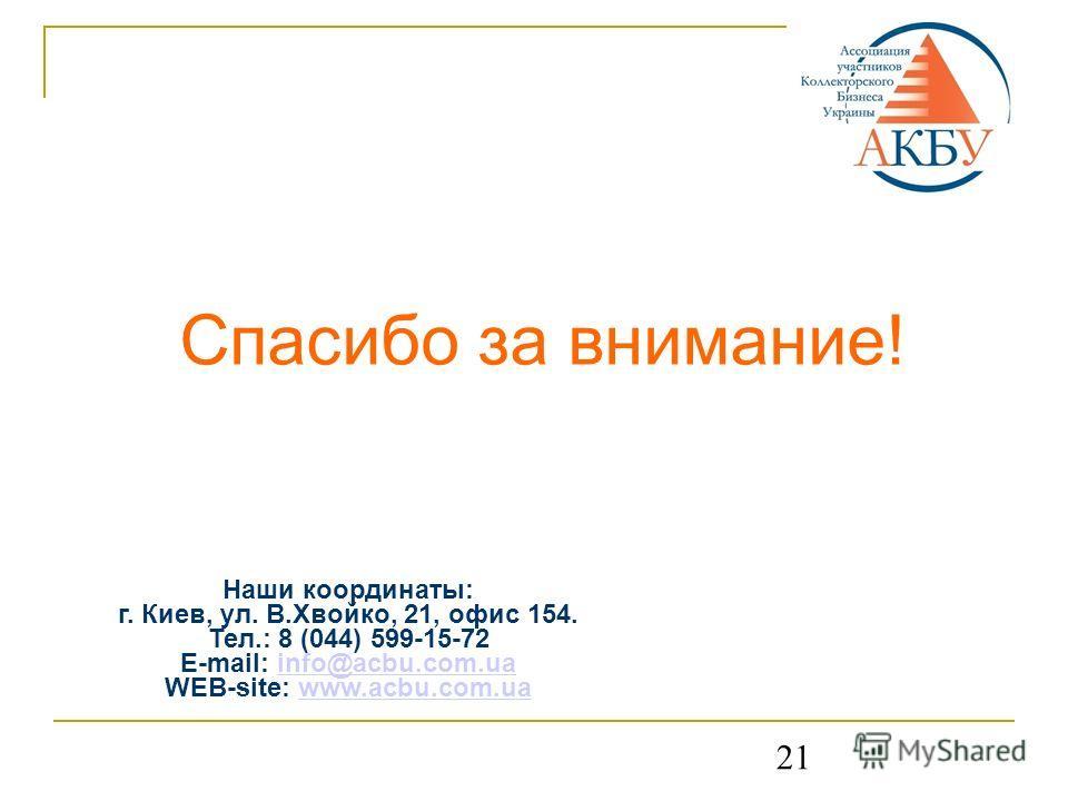 21 Спасибо за внимание! Наши координаты: г. Киев, ул. В.Хвойко, 21, офис 154. Тел.: 8 (044) 599-15-72 E-mail: info@acbu.com.uainfo@acbu.com.ua WEB-site: www.acbu.com.uawww.acbu.com.ua