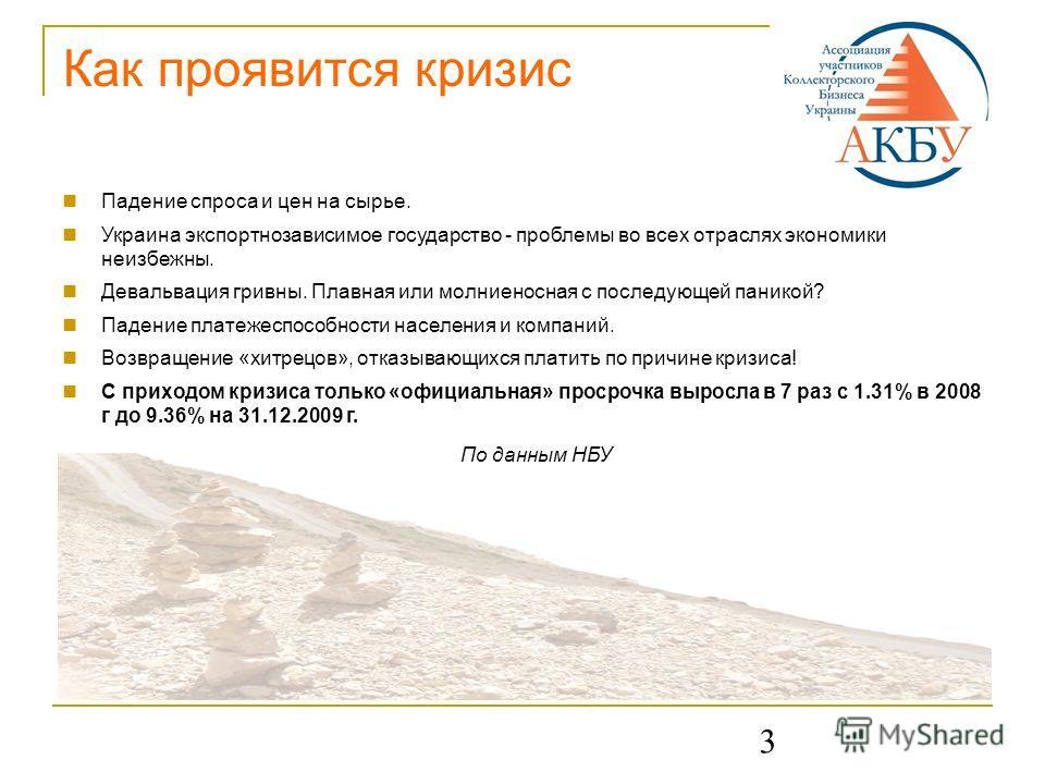3 Как проявится кризис Падение спроса и цен на сырье. Украина экспортнозависимое государство - проблемы во всех отраслях экономики неизбежны. Девальвация гривны. Плавная или молниеносная с последующей паникой? Падение платежеспособности населения и к