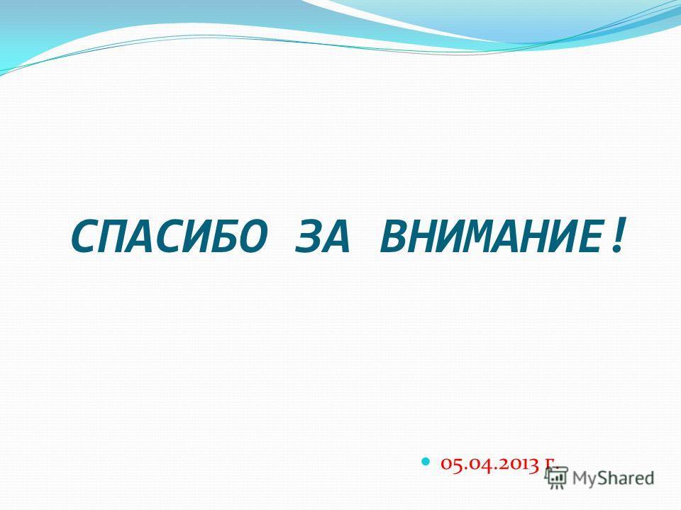 СПАСИБО ЗА ВНИМАНИЕ! 05.04.2013 г.
