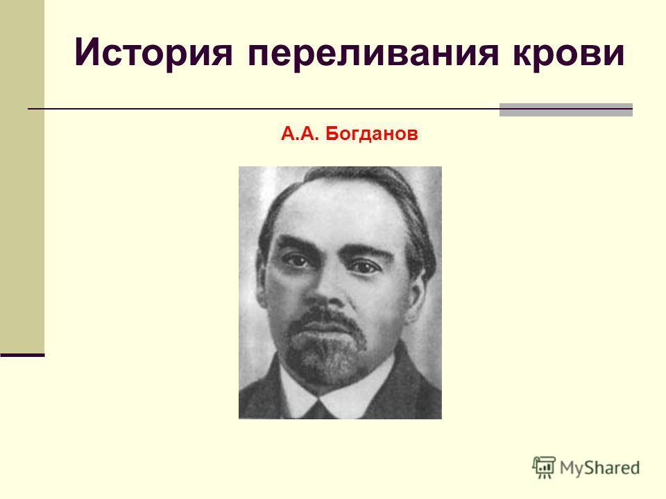 История переливания крови А.А. Богданов