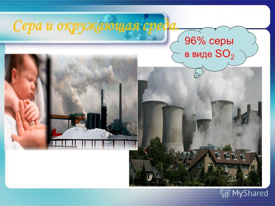 Сера и окружающая среда. 96% серы в виде SО 2