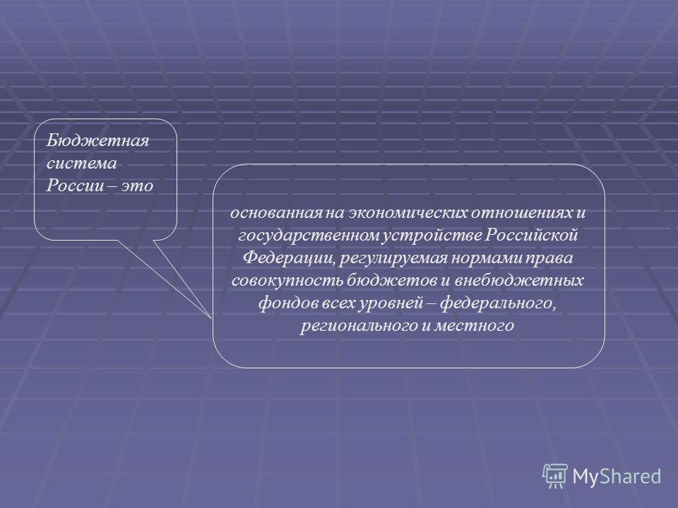 основанная на экономических отношениях и государственном устройстве Российской Федерации, регулируемая нормами права совокупность бюджетов и внебюджетных фондов всех уровней – федерального, регионального и местного Бюджетная система России – это