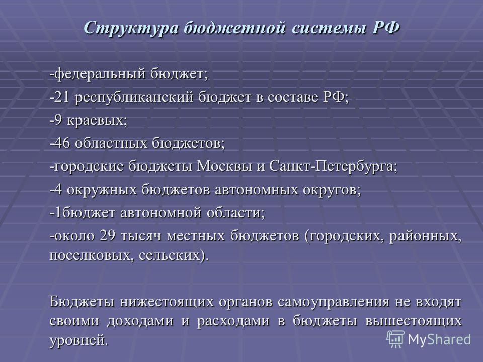 Структура бюджетной системы РФ -федеральный бюджет; -21 республиканский бюджет в составе РФ; -9 краевых; -46 областных бюджетов; -городские бюджеты Москвы и Санкт-Петербурга; -4 окружных бюджетов автономных округов; -1бюджет автономной области; -окол