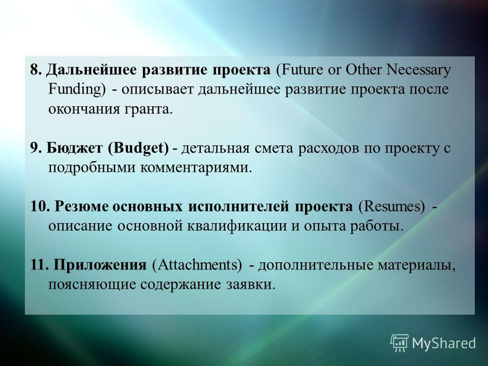 8. Дальнейшее развитие проекта (Future or Other Necessary Funding) - описывает дальнейшее развитие проекта после окончания гранта. 9. Бюджет (Budget) - детальная смета расходов по проекту с подробными комментариями. 10. Резюме основных исполнителей п