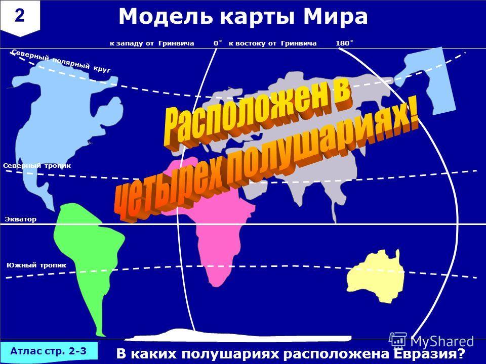 2 В каких полушариях расположена Евразия? Модель карты Мира 0˚ Экватор 180˚к западу от Гринвичак востоку от Гринвича Северный полярный круг Южный тропик Северный тропик Атлас стр. 2-3