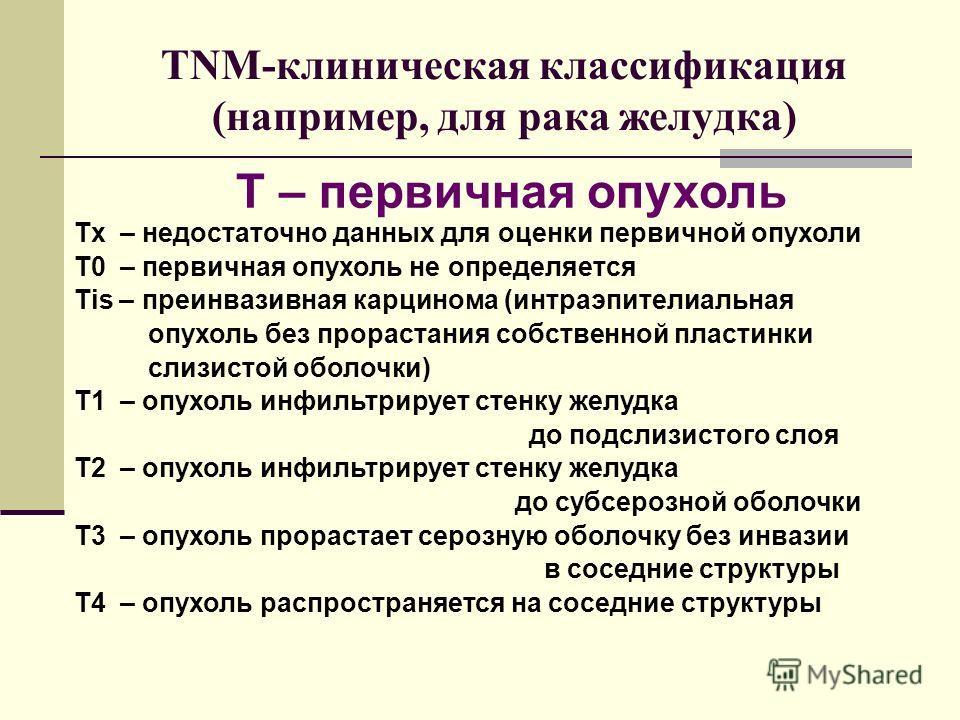 TNM-клиническая классификация (например, для рака желудка) Tx – недостаточно данных для оценки первичной опухоли T0 – первичная опухоль не определяется Tis – преинвазивная карцинома (интраэпителиальная опухоль без прорастания собственной пластинки сл