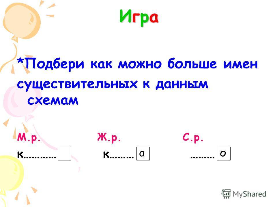 ИграИграИграИгра *Подбери как можно больше имен существительных к данным схемам М.р. Ж.р. С.р. к………… к……… ……… ао