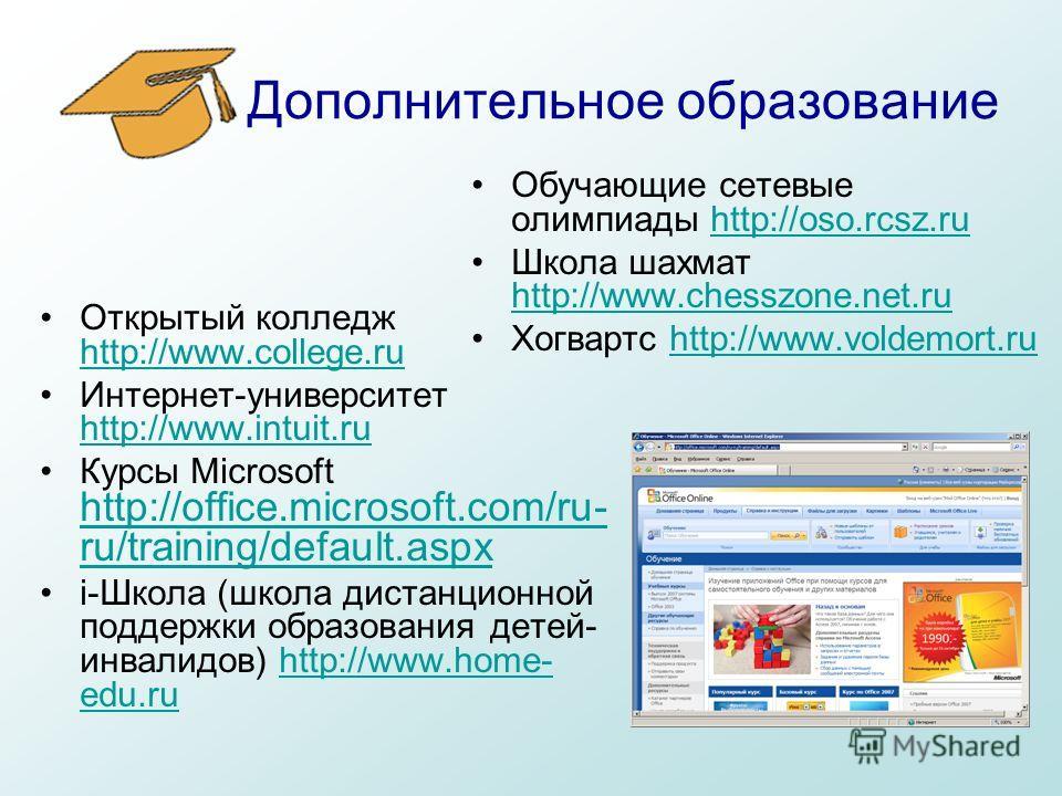 Дополнительное образование Открытый колледж http://www.college.ru http://www.college.ru Интернет-университет http://www.intuit.ru http://www.intuit.ru Курсы Microsoft http://office.microsoft.com/ru- ru/training/default.aspx http://office.microsoft.co
