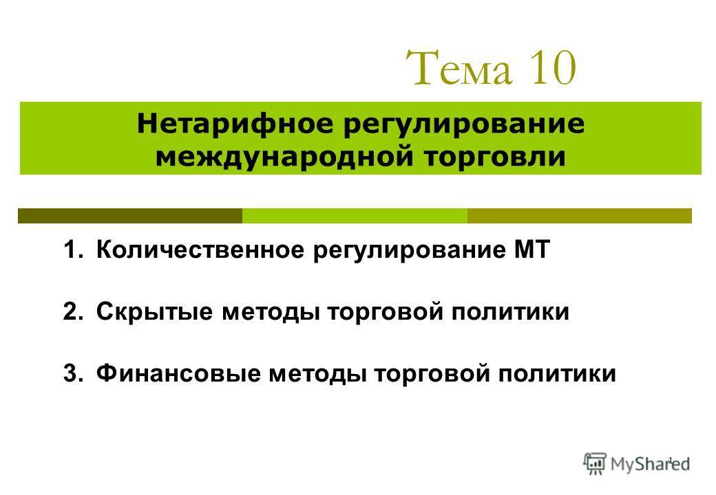 1 Тема 10 Нетарифное регулирование международной торговли 1.Количественное регулирование МТ 2.Скрытые методы торговой политики 3.Финансовые методы торговой политики