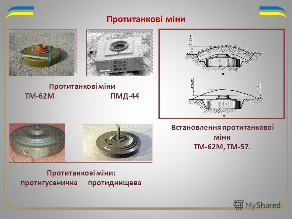Протитанкові міни Встановлення протитанкової міни ТМ-62М, ТМ-57. Протитанкові міни ТМ-62М ПМД-44 Протитанкові міни: протигусенична протиднищева