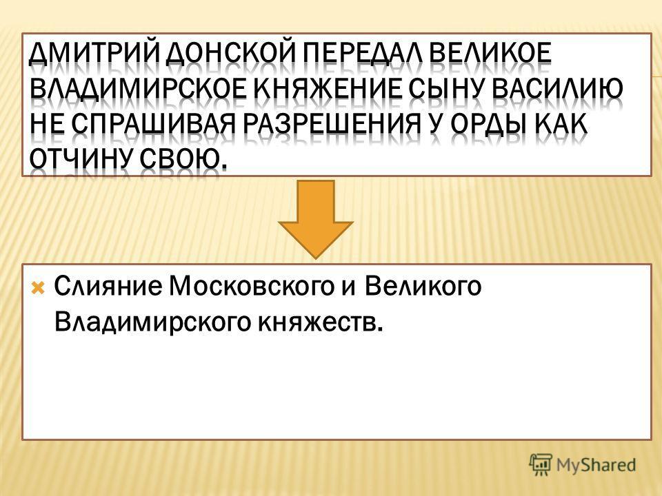 Слияние Московского и Великого Владимирского княжеств.