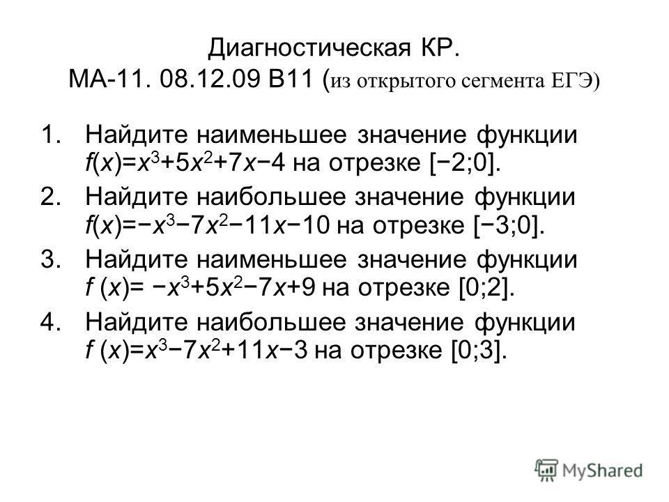 Диагностическая КР. МА-11. 08.12.09 B11 ( из открытого сегмента ЕГЭ) 1.Найдите наименьшее значение функции f(x)=x 3 +5x 2 +7x4 на отрезке [2;0]. 2.Найдите наибольшее значение функции f(x)=x 3 7x 2 11x10 на отрезке [3;0]. 3.Найдите наименьшее значение