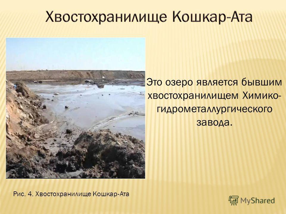 Это озеро является бывшим хвостохранилищем Химико- гидрометаллургического завода. Рис. 4. Хвостохранилище Кошкар-Ата