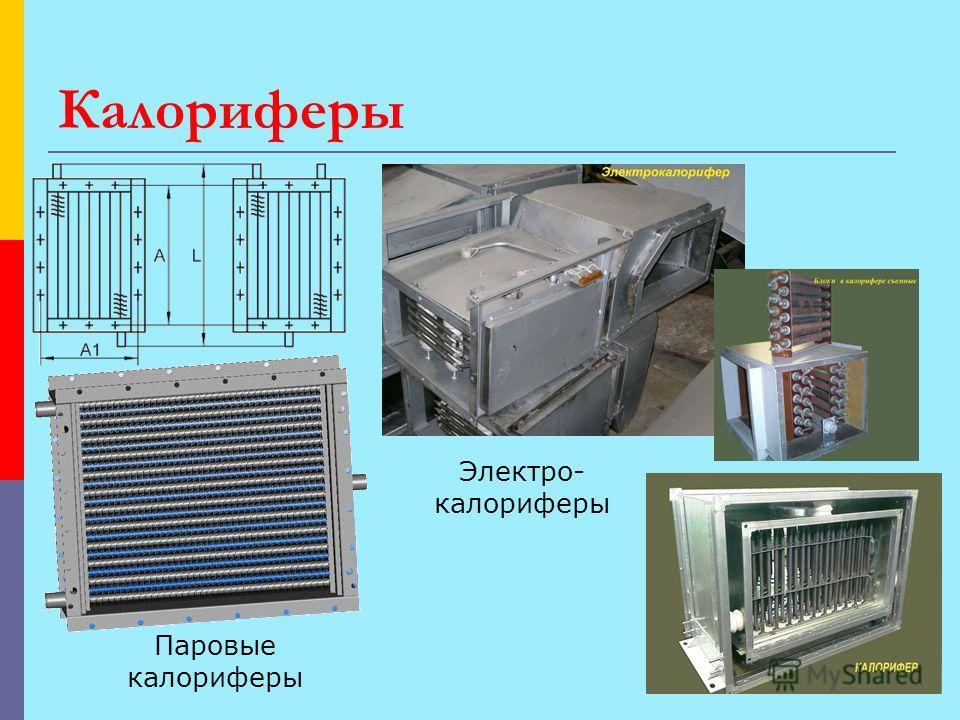 Калориферы Паровые калориферы Электро- калориферы