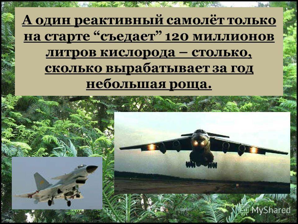 А один реактивный самолёт только на старте съедает 120 миллионов литров кислорода – столько, сколько вырабатывает за год небольшая роща.