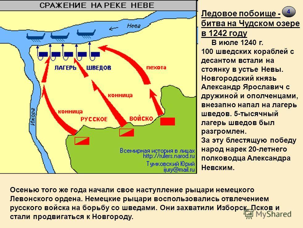 44 Ледовое побоище - битва на Чудском озере в 1242 году В июле 1240 г. 100 шведских кораблей с десантом встали на стоянку в устье Невы. Новгородский князь Александр Ярославич с дружиной и ополченцами, внезапно напал на лагерь шведов. 5-тысячный лагер