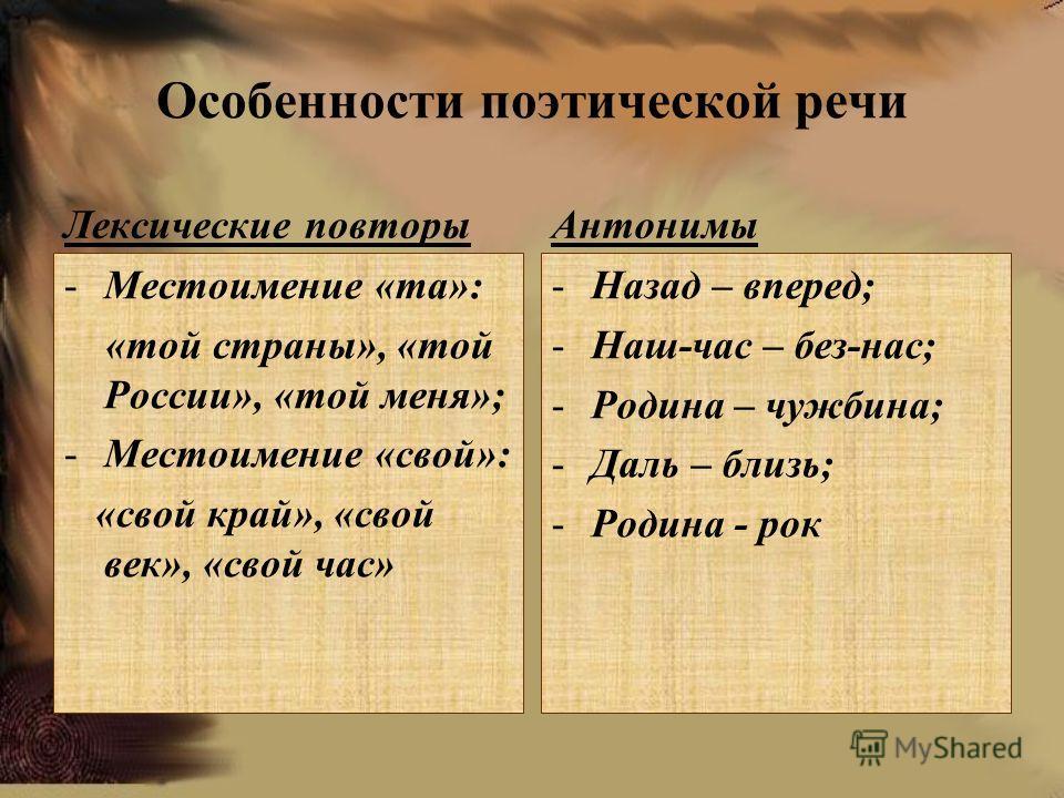 Особенности поэтической речи Лексические повторы -Местоимение «та»: «той страны», «той России», «той меня»; -Местоимение «свой»: «свой край», «свой век», «свой час» Антонимы -Назад – вперед; -Наш-час – без-нас; -Родина – чужбина; -Даль – близь; -Роди