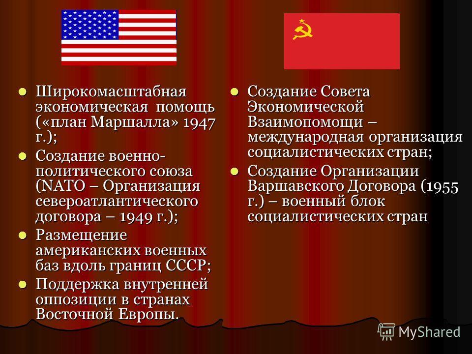 Широкомасштабная экономическая помощь («план Маршалла» 1947 г.); Широкомасштабная экономическая помощь («план Маршалла» 1947 г.); Создание военно- политического союза (NATO – Организация североатлантического договора – 1949 г.); Создание военно- поли