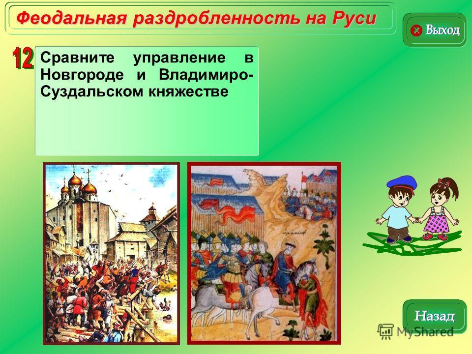 Феодальная раздробленность на Руси Сравните управление в Новгороде и Владимиро- Суздальском княжестве