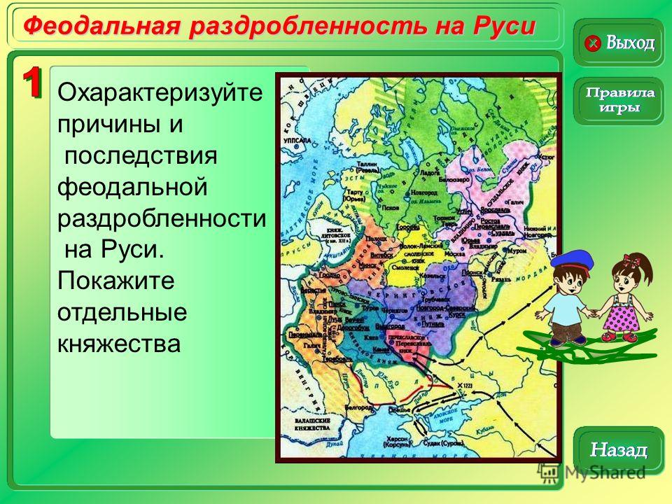 Феодальная раздробленность на Руси Охарактеризуйте причины и последствия феодальной раздробленности на Руси. Покажите отдельные княжества
