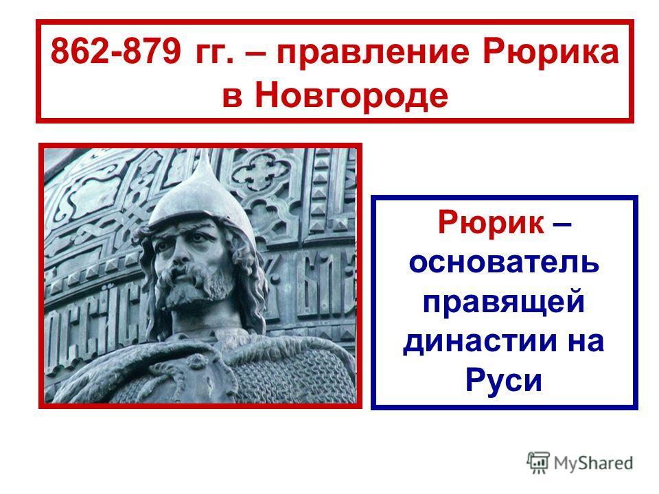 862-879 гг. – правление Рюрика в Новгороде Рюрик – основатель правящей династии на Руси
