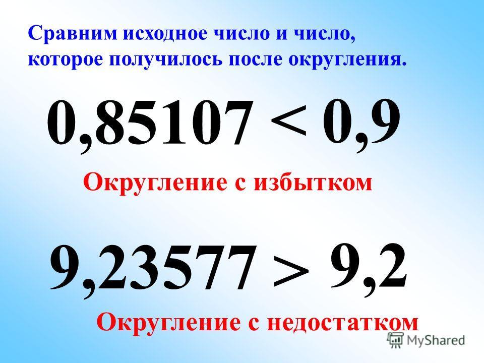 0,85107 0,9 9,23577 9,2 До десятых +1+1 ОКРУГЛЕНИЕОКРУГЛЕНИЕ