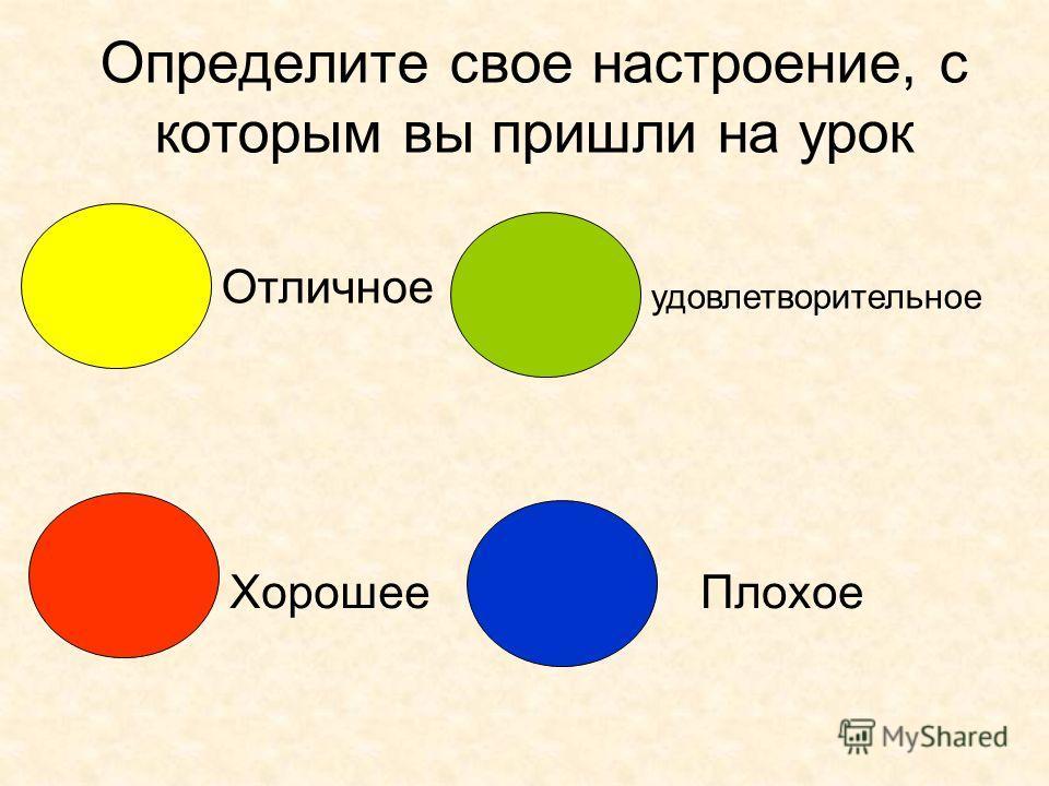 Определите свое настроение, с которым вы пришли на урок Отличное Хорошее удовлетворительное Плохое
