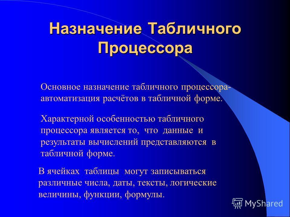 Общая Характеристика Табличного Процессора Выполнил: Марков Сергей ВалерьевичВалерьевич.