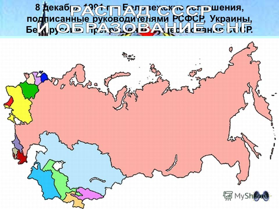 8 декабря 1991 г. – Беловежские соглашения, подписанные руководителями РСФСР, Украины, Белоруссии. Прекращение существования СССР.