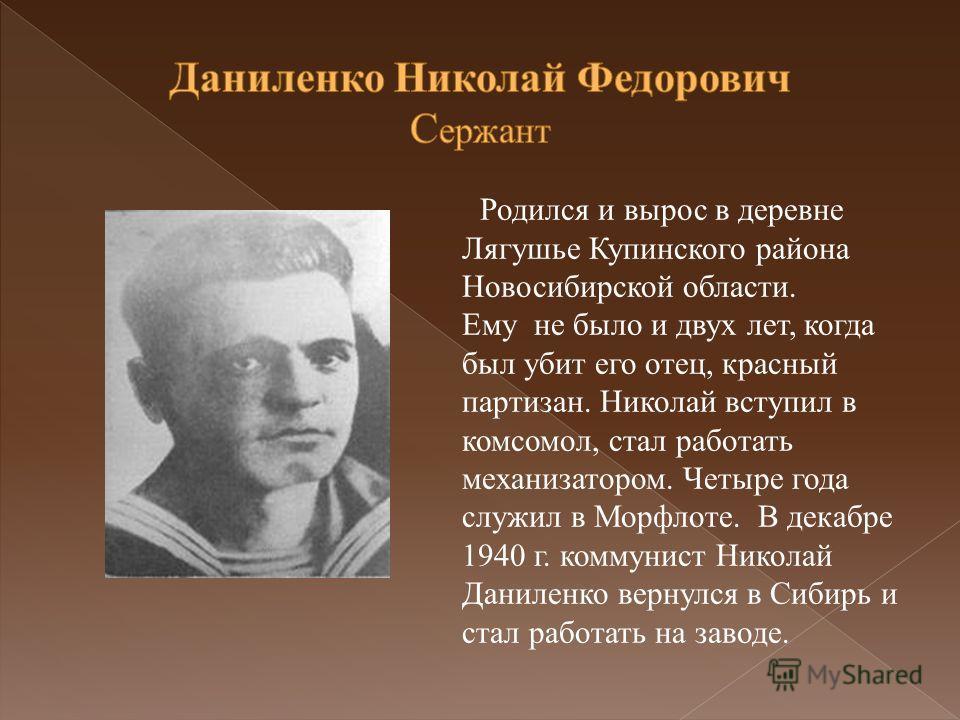 Родился и вырос в деревне Лягушье Купинского района Новосибирской области. Ему не было и двух лет, когда был убит его отец, красный партизан. Николай вступил в комсомол, стал работать механизатором. Четыре года служил в Морфлоте. В декабре 1940 г. ко
