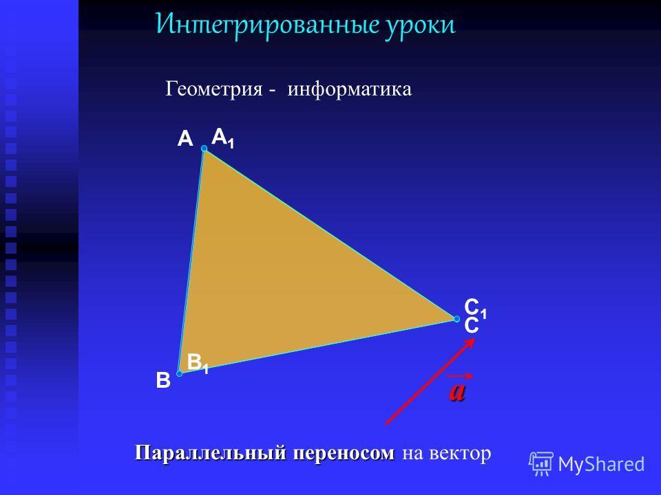 a В А С B1B1 C1C1 A1A1 Интегрированные уроки Геометрия - информатика Параллельный переносом Параллельный переносом на вектор