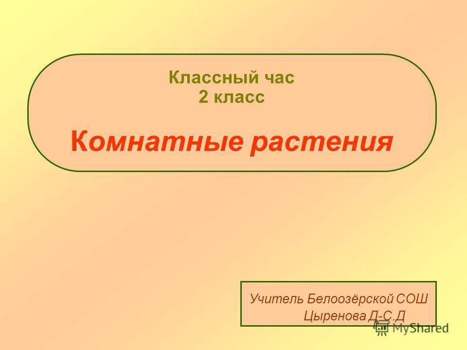 Классный час 2 класс Комнатные растения Учитель Белоозёрской СОШ Цыренова Д-С.Д