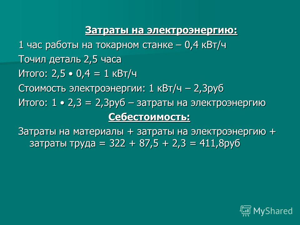 Затраты на электроэнергию: Затраты на электроэнергию: 1 час работы на токарном станке – 0,4 кВт/ч Точил деталь 2,5 часа Итого: 2,5 0,4 = 1 кВт/ч Стоимость электроэнергии: 1 кВт/ч – 2,3руб Итого: 1 2,3 = 2,3руб – затраты на электроэнергию Себестоимост