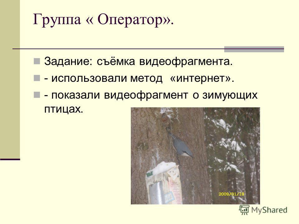 Группа « Оператор». Задание: съёмка видеофрагмента. - использовали метод «интернет». - показали видеофрагмент о зимующих птицах.
