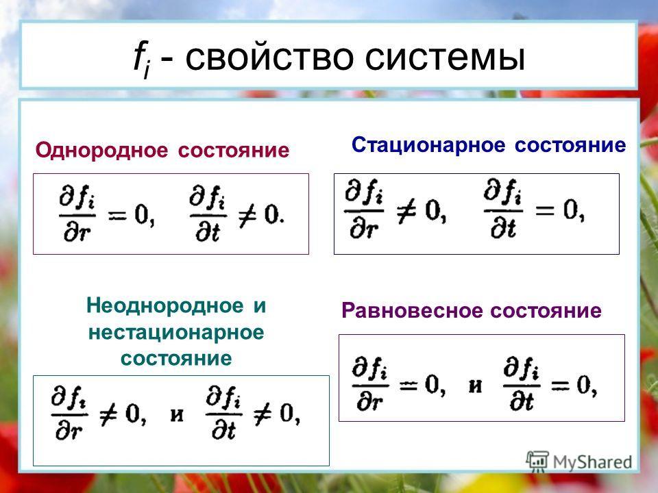 Однородное состояние Стационарное состояние Неоднородное и нестационарное состояние Равновесное состояние f i - cвойство системы