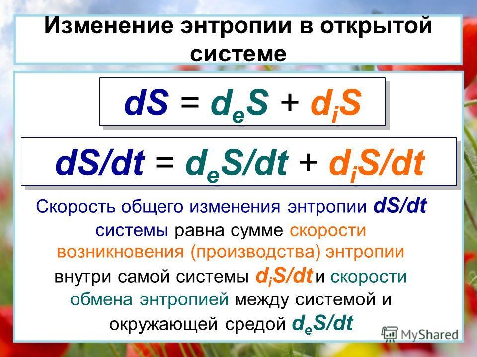 Изменение энтропии в открытой системе dS = d e S + d i S dS/dt = d e S/dt + d i S/dt Скорость общего изменения энтропии dS/dt системы равна сумме скорости возникновения (производства) энтропии внутри самой системы d i S/dt и скорости обмена энтропией