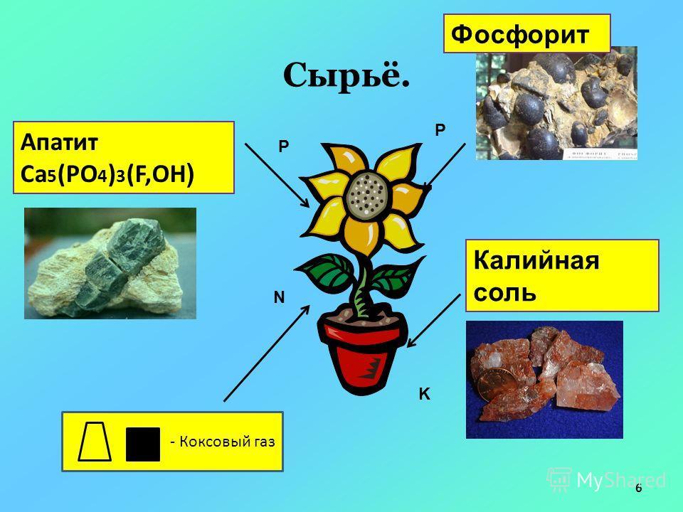 Сырьё. Апатит Са 5 (РО 4 ) 3 (F,OH ) Калийная соль Фосфорит - Коксовый газ P P N K 6