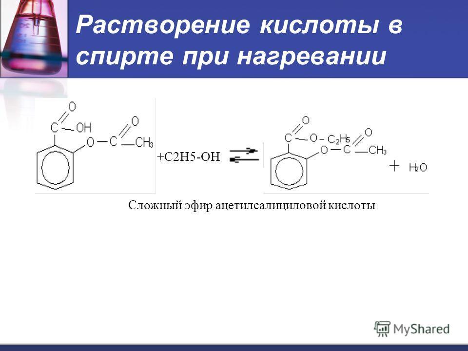 Растворение кислоты в спирте при нагревании +С2H5-OH Сложный эфир ацетилсалициловой кислоты