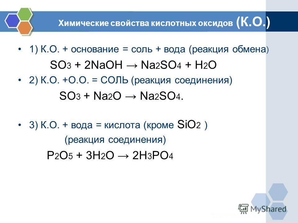 Химические свойства кислотных оксидов (К.О.) 1) К.О. + основание = соль + вода (реакция обмена ) SO 3 + 2NaOH Na 2 SO 4 + H 2 O 2) К.О. +О.О. = СОЛЬ (реакция соединения) SO 3 + Na 2 O Na 2 SO 4. 3) К.О. + вода = кислота (кроме SiO 2 ) (реакция соедин