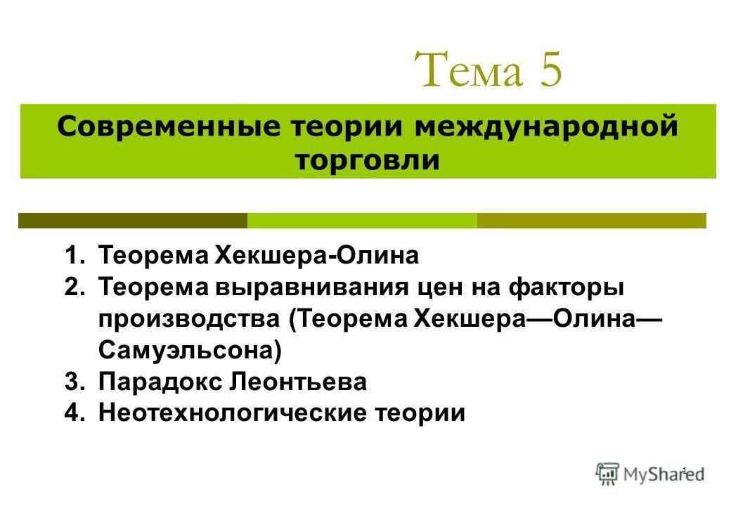 1 Тема 5 Современные теории международной торговли 1.Теорема Хекшера-Олина 2.Теорема выравнивания цен на факторы производства (Теорема ХекшераОлина Самуэльсона) 3.Парадокс Леонтьева 4.Неотехнологические теории
