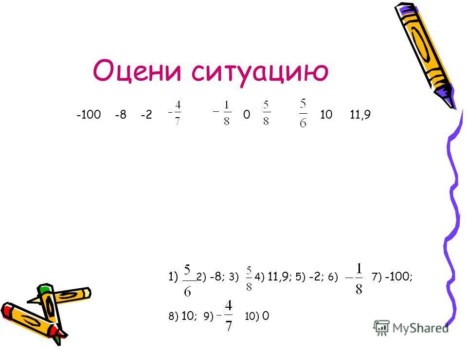 Оцени ситуацию 1) 2) -8; 3) 4) 11,9; 5) -2; 6) 7) -100; 8) 10; 9) 10) 0 -100 -8 -2 0 10 11,9