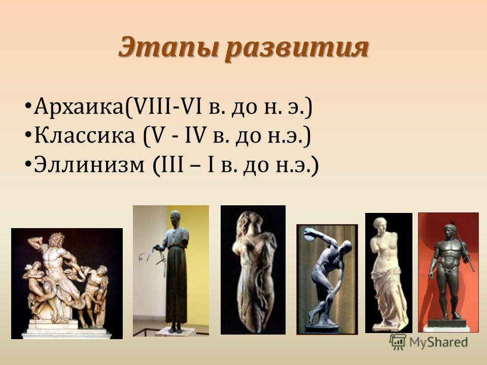 Этапы развития Архаика (VIII-VI в. до н. э.) Классика ( V - IV в. до н. э.) Эллинизм ( III – I в. до н. э.)